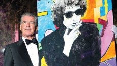 "Pierce Brosnan ""Gobsmacked"" After His Bob Dylan Painting Sells for $1.4M"