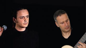 Ο Βασίλης Γισδάκης και ο Μανόλης Ανδρουλιδάκης  στη μουσική σκηνή Σφίγγα
