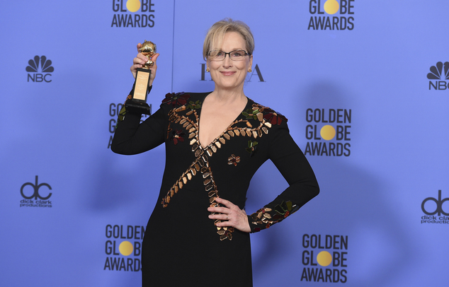 Meryl Streep poses in the press room with the Cecil B. DeMille award at the 74th annual Golden Globe Awards at the Beverly Hilton Hotel on Sunday, Jan. 8, 2017, in Beverly Hills, Calif. (Photo by Jordan Strauss/Invision/AP)