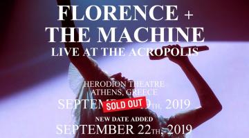 Florence & The Machine | ΝΕΑ ΗΜΕΡΟΜΗΝΙΑ Δευτέρα 22 Σεπτεμβρίου 2019 | Ωδείο Ηρώδου Αττικού