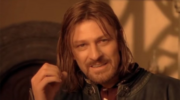 Sean Bean checking his script in Lord Of The Rings created a classic meme