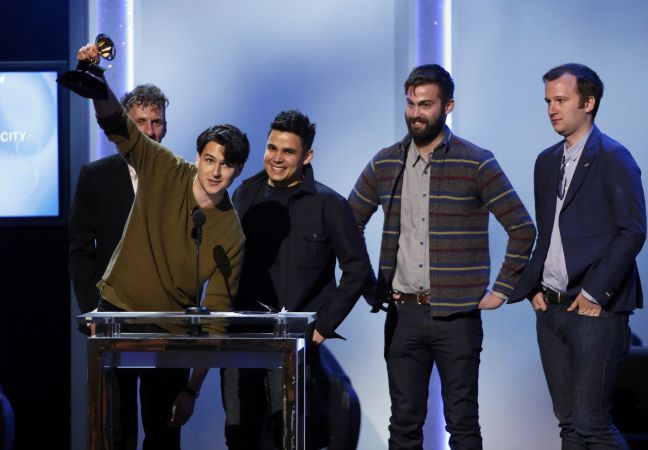 """Vampire Weekend win the Best Alternative Music Album award for """"Modern Vampires Of The City"""" at the 56th annual Grammy Awards in Los Angeles"""