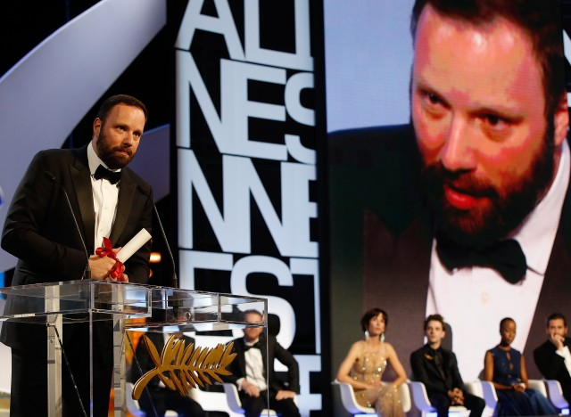 Greek director Yorgos Lanthimos poses on stage after being awarded with the Jury prize during the closing ceremony of the 68th Cannes Film Festival in Cannes, southeastern France, on May 24, 2015.       AFP PHOTO / VALERY HACHE        (Photo credit should read VALERY HACHE/AFP/Getty Images)