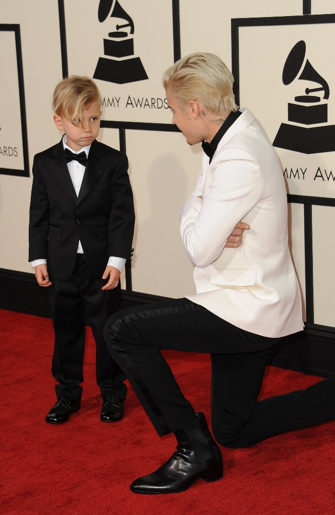 Celebrities arrive at the 58th Annual Grammy Awards at Staples Center on February 15, 2016 in Los Angeles, California. Pictured: Jaxon Bieber, Justin Bieber Ref: SPL1228746 150216 Picture by: PG / Splash News Splash News and Pictures Los Angeles: 310-821-2666 New York: 212-619-2666 London: 870-934-2666 photodesk@splashnews.com