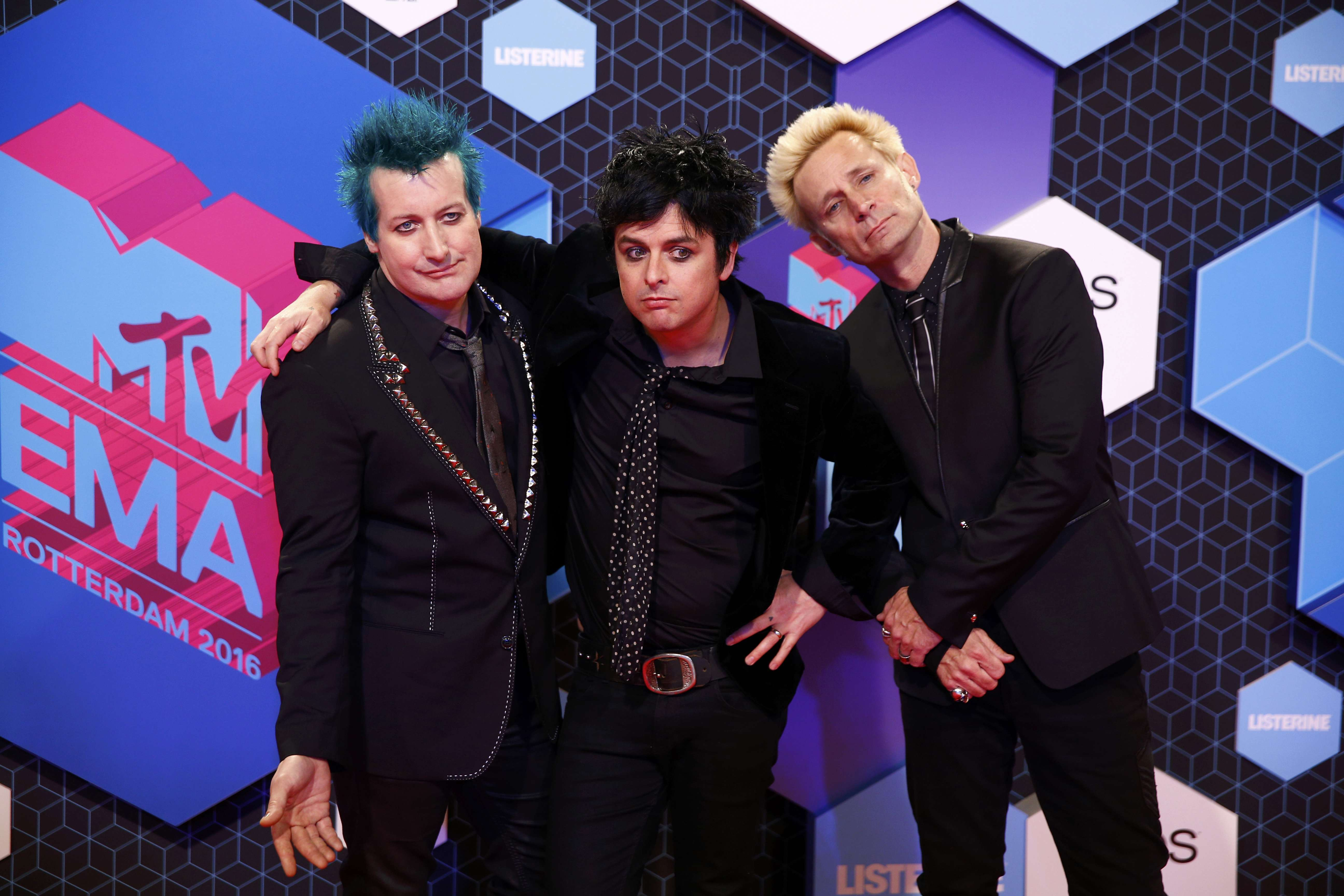Rock band Green Day attends the 2016 MTV Europe Music Awards at the Ahoy Arena in Rotterdam, Netherlands, November 6, 2016.   REUTERS/Michael Kooren