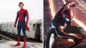 Marvel Entertainment Spider-Man's costume in Spider-Man: Homecoming (left) and Avengers: Infinity War.