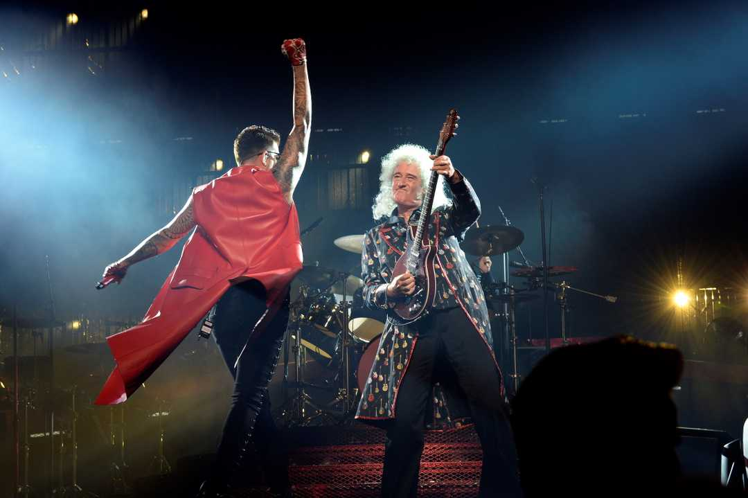 Lead guitarist Brian May (R) of the British band Queen and US singer Adam Lambert perform on stage along with former Queen's band members at the Wizink Center in Madrid, Spain, 09 June 2018. EPA-EFE/VICTOR LERENA ORG XMIT: GRAF7168 VICTOR LERENA, EPA-EFE